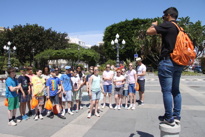 Chaperone explaining tour