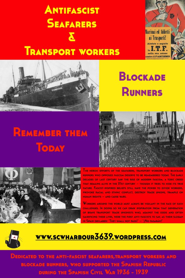 Antifascist poster in remembrance of the Seafarers, Dockers and Blockade Runners of the Spanish Civil War