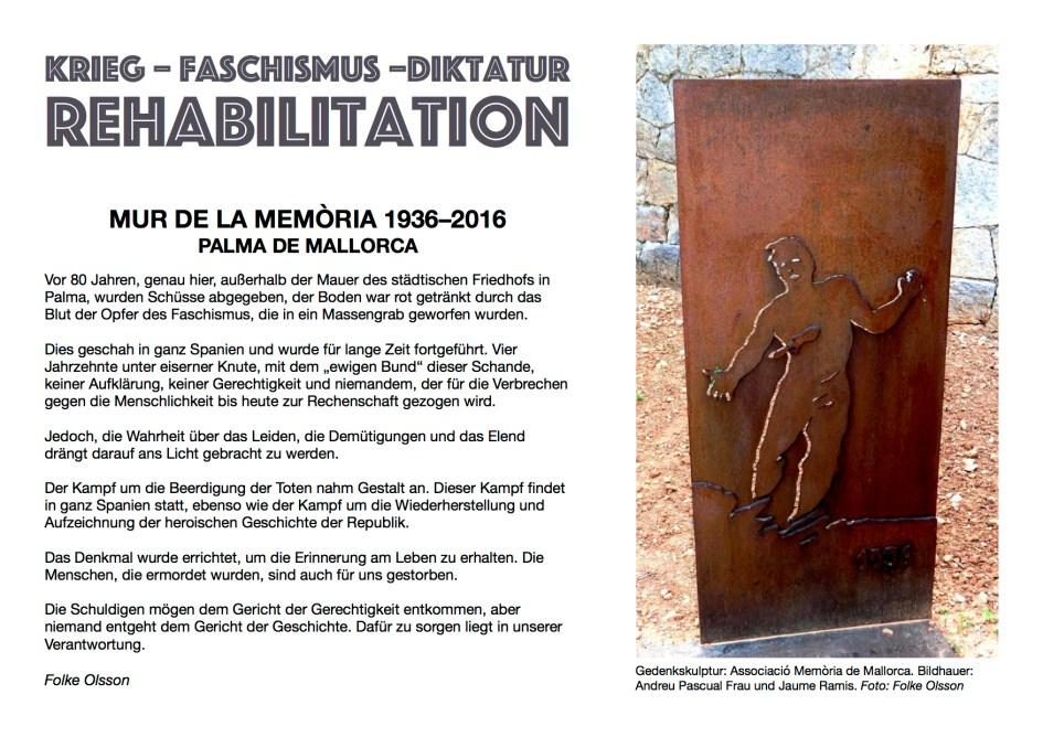 Umschlage von Folke Olssons Broschüre über Mur de la Memòria – Die Mauer des Erinnerns, Palma de Mallorca 2011