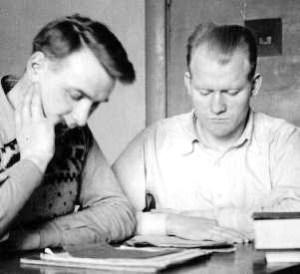 Færøske og islandske spaniensfrivillige: Hallgrimur Hallgrimsson (til højre) og en ven i Reykjavik ca. 1940