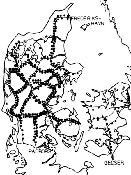 Die dänische Besetzung und Befreiung: 10. Eisenbahnsabotage: Karte der geografischen Verteilung der Eisenbahnsabotage