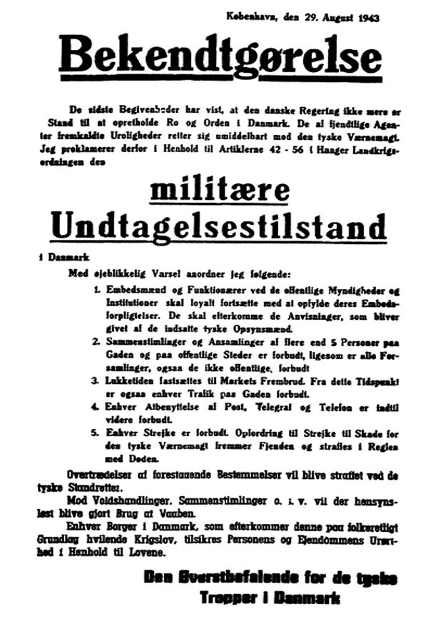 Besættelsen og befrielsen: 8. Bekendtgørelse om militær undtagelsestilstand 29. august 1943