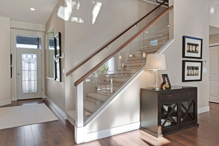 Glass With Wood Handrails