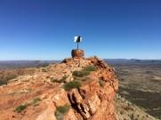 the restored trigonometric station at the rocky summit