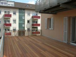 Terrassenbelag Bankirai auf Holzunterkonstruktion