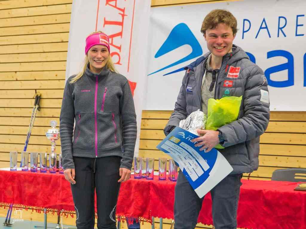 Vinnere av Spanstind Rundt 2016, Lovise Heimdal og Martin Mikkelsen. Foto: Fotogjeteren/Rune Jensen