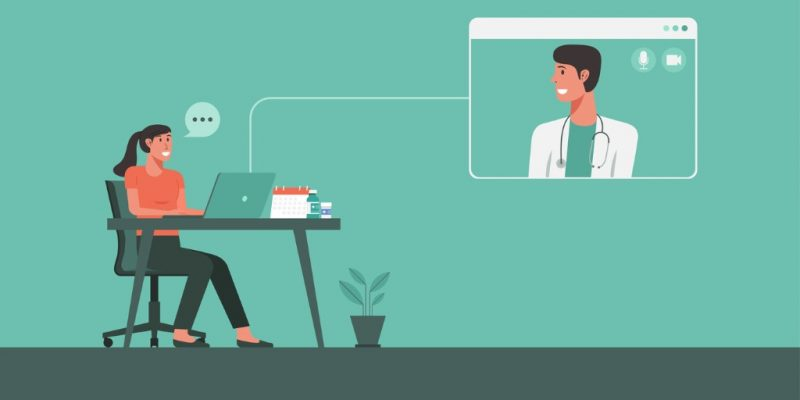 woman-stay-at-home-video-call-conferencing-with-doctor-vector-id1267367212