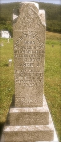 Grave of Philip T. Zeigler & wife Annie J. Zeigler