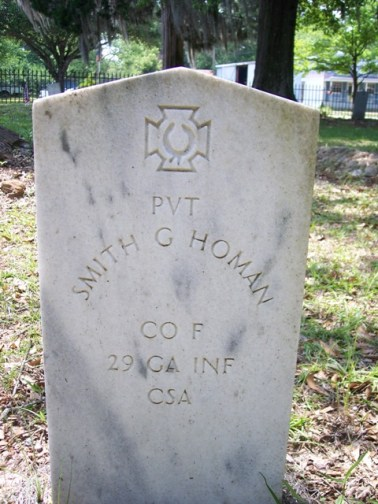 Pvt. Smith G. Homan's Grave in Thomasville, GA