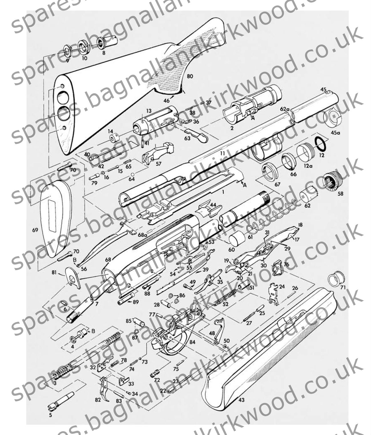 remington 1100 shotgun spare parts bagnall and kirkwood airgun spares rh spares bagnallandkirkwood co uk remington 1100 assembly diagram remington 1100 breakdown diagram