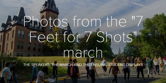 "Photos from the ""7 Feet for 7 Shots"" march"