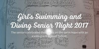 Girl's Swimming and Diving Senior Night 2017