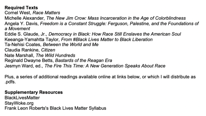 Figure of Course Reading List