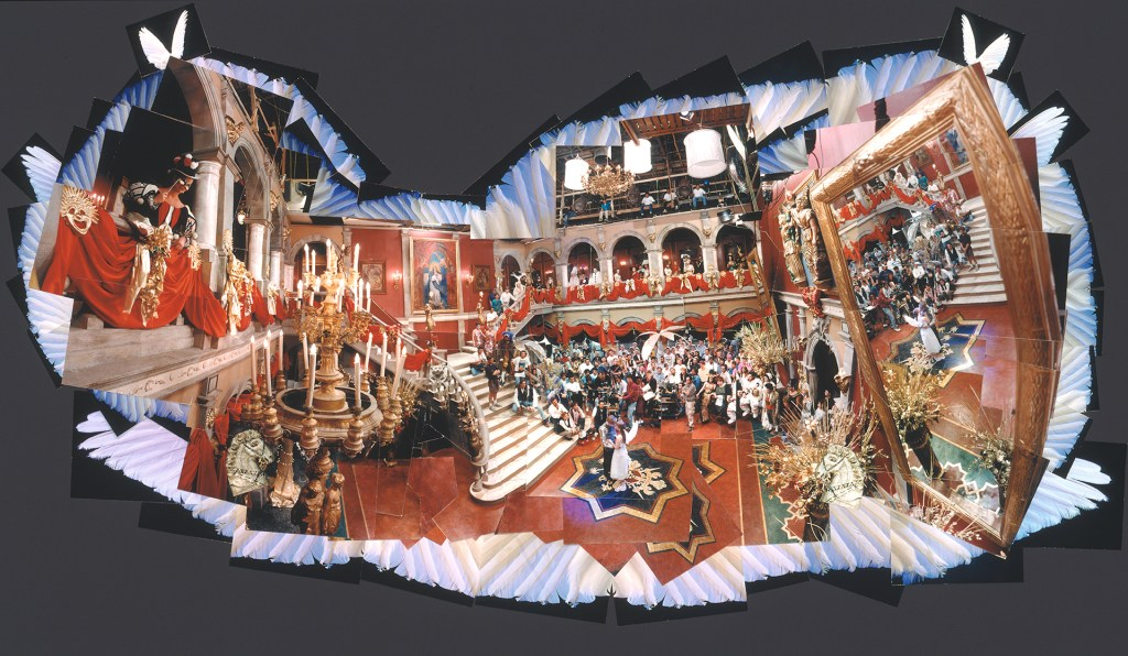 This gorgeous photo from the Mexico City set of Baz Luhrman's Romeo + Juliet contains many hidden surprises and small moments. The irregular border of the image is surrounded with white angel wings. This image appeared in Life magazine in 1996.