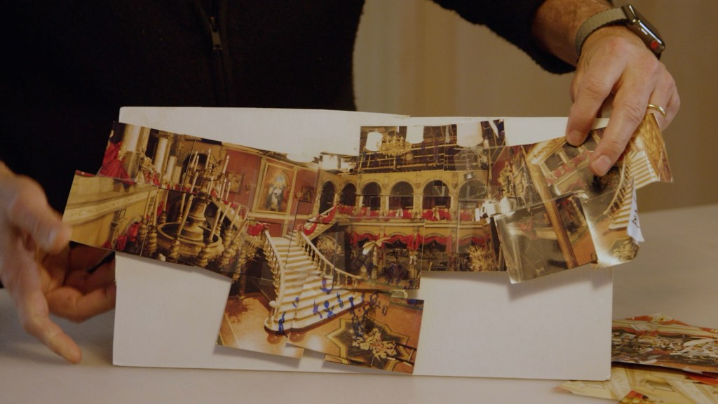 A more refined version of the Romeo + Juliet photo collage that shows the square building in a panoramic frame