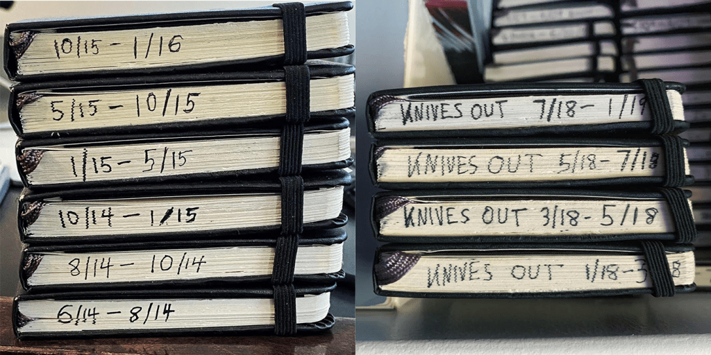 Imagine opening any one of these Moleskine notebooks and a script pops out fully written. Unfortunately, says Rian Johnson, that's not how it works. He'd been kicking the story around for at least 10 years in his notebooks