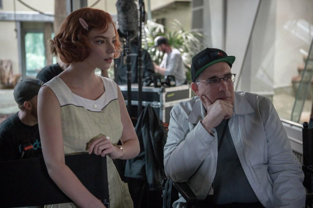 Anya Taylor-Joy as Beth Harmon, along with executive producer Bill Horberg, filming episode 103. Photo: Phil Bray/Netflix © 2020