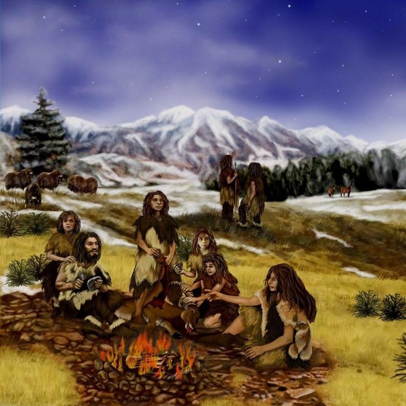 Neanderthals around a fire