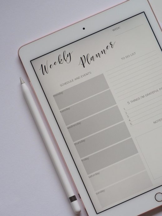 Weekly Planner on Ipad with a pen