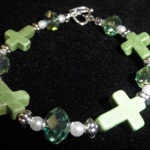 green magnesite cross bracelet