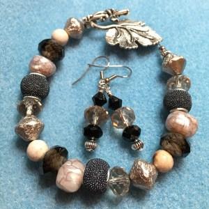 charcoal black silver leaf toggle jewelry set