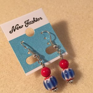 Red, White and Blue Patriotic Ceramic Dangle Earrings