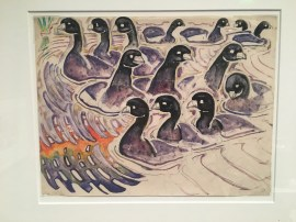 Walter Anderson. (1903-1965). Coots in Orange and Blue Sea. ND. Watercolor on paper. Collection of Wesley and Norman Galen.