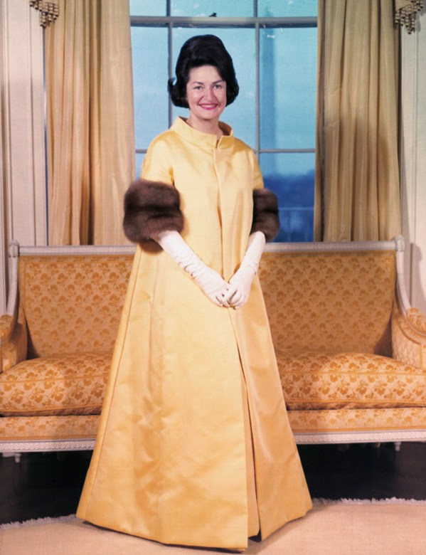 Mrs. Lyndon B. Johnson Wearing Inaugural Gown