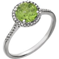 Sterling Silver Diamond Accented Peridot Ring