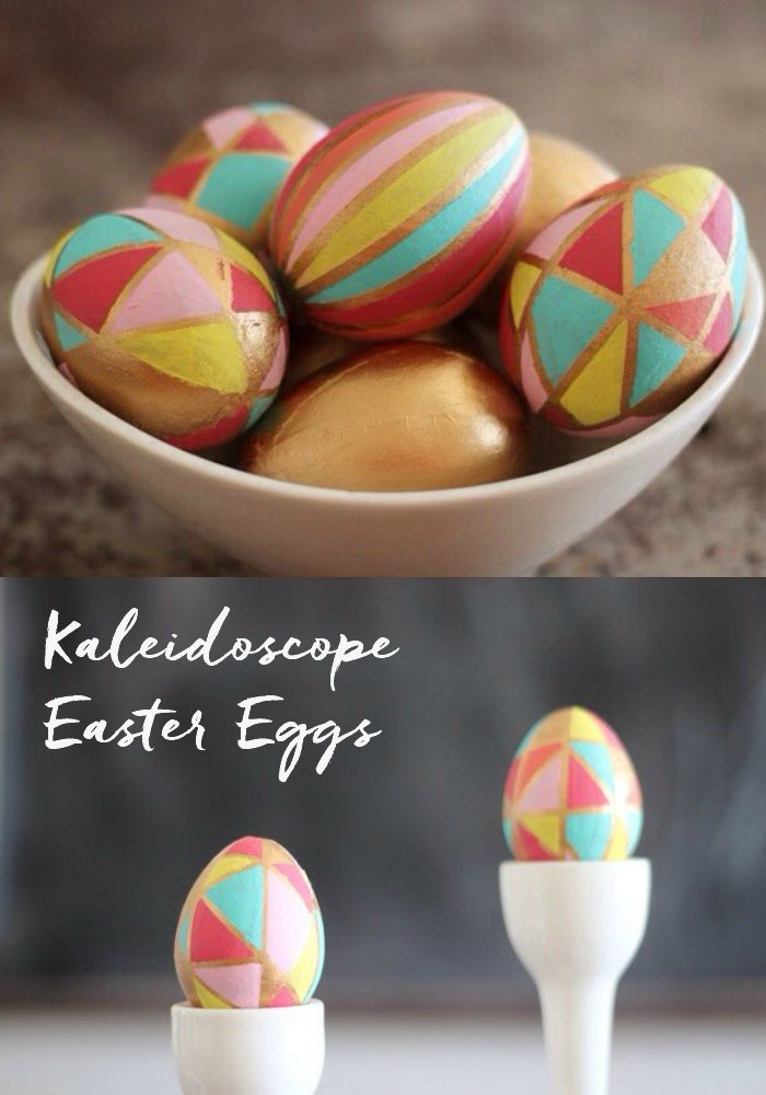 Decorative painted eggs, made to look like kaleidoscope art for Easter!