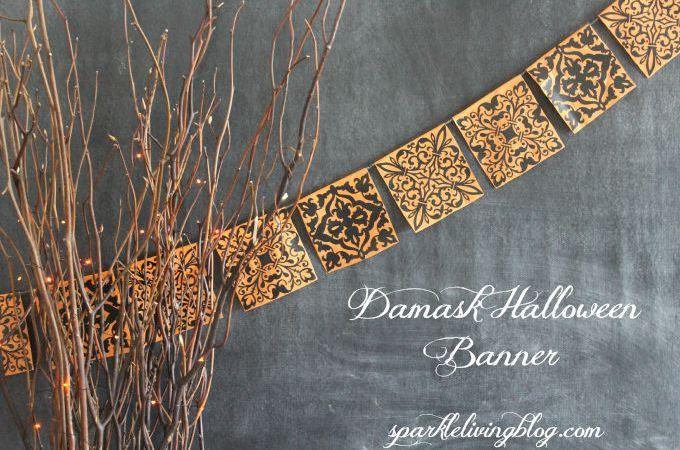 Easy Damask Halloween Banner