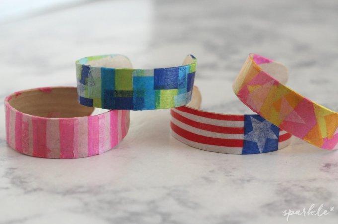 Decoupaged Craft Stick Bracelets