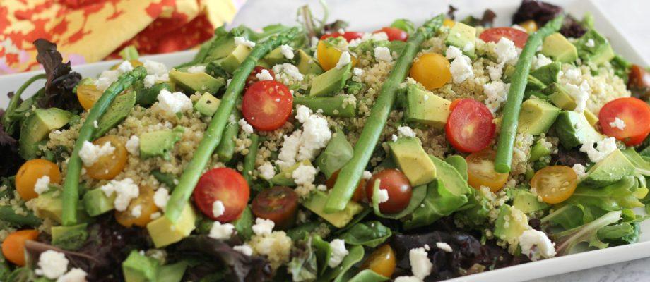 Quinoa Asparagus Salad with a Lemon Pesto Drizzle