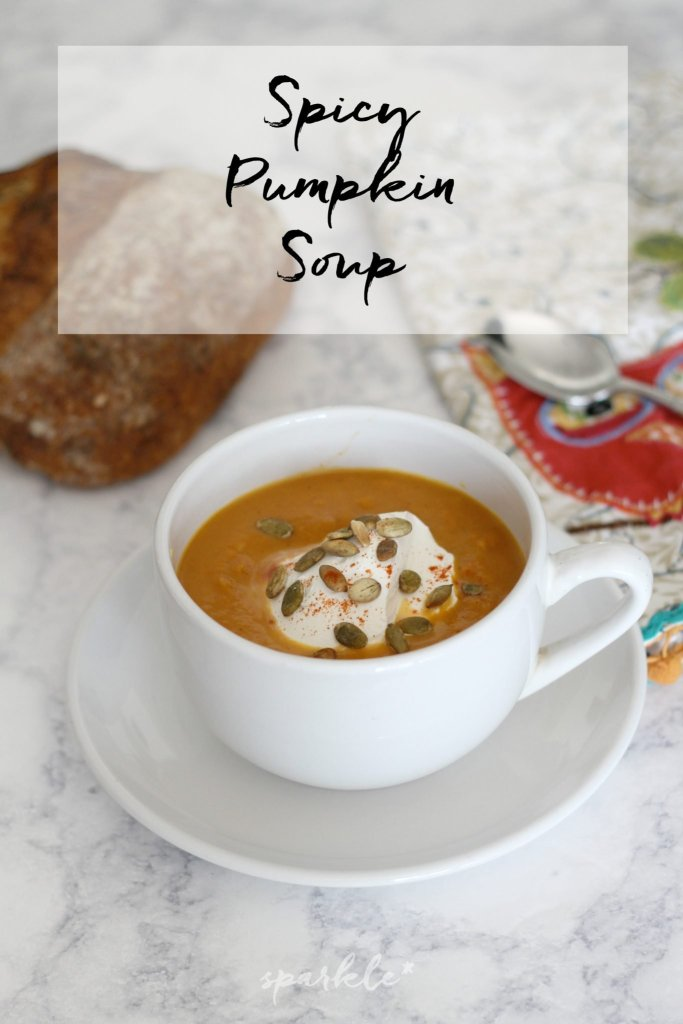 This spicy pumpkin soup recipe will fill you up and keep you warm! Easy to make and easy to eat.