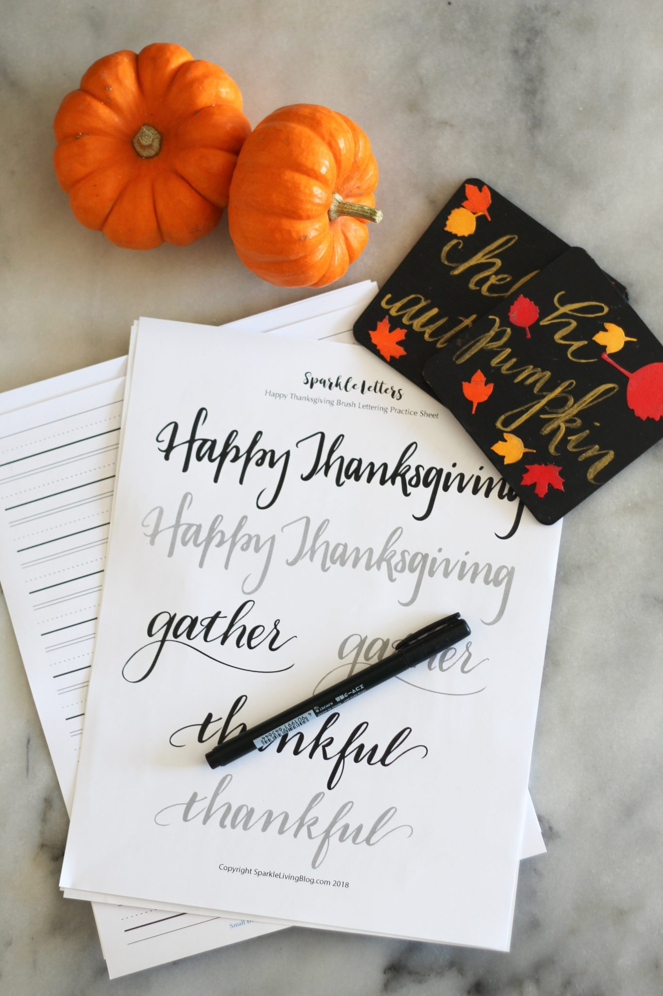 Happy Thanksgiving Brush Lettering Practice Sheet