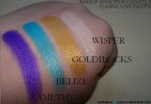 sparkleoflight makeup addiction flaming love palette eyeshadows swatches wisper goldilocks belize amethyst