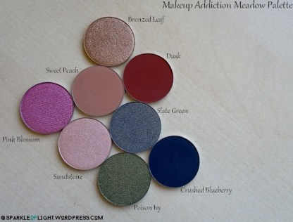 sparkleoflight makeup addiction meadow palette eyeshadow sandstone sweet peach dusk slate green bronzed leaf pink blossom poison ivy crushed blueberry