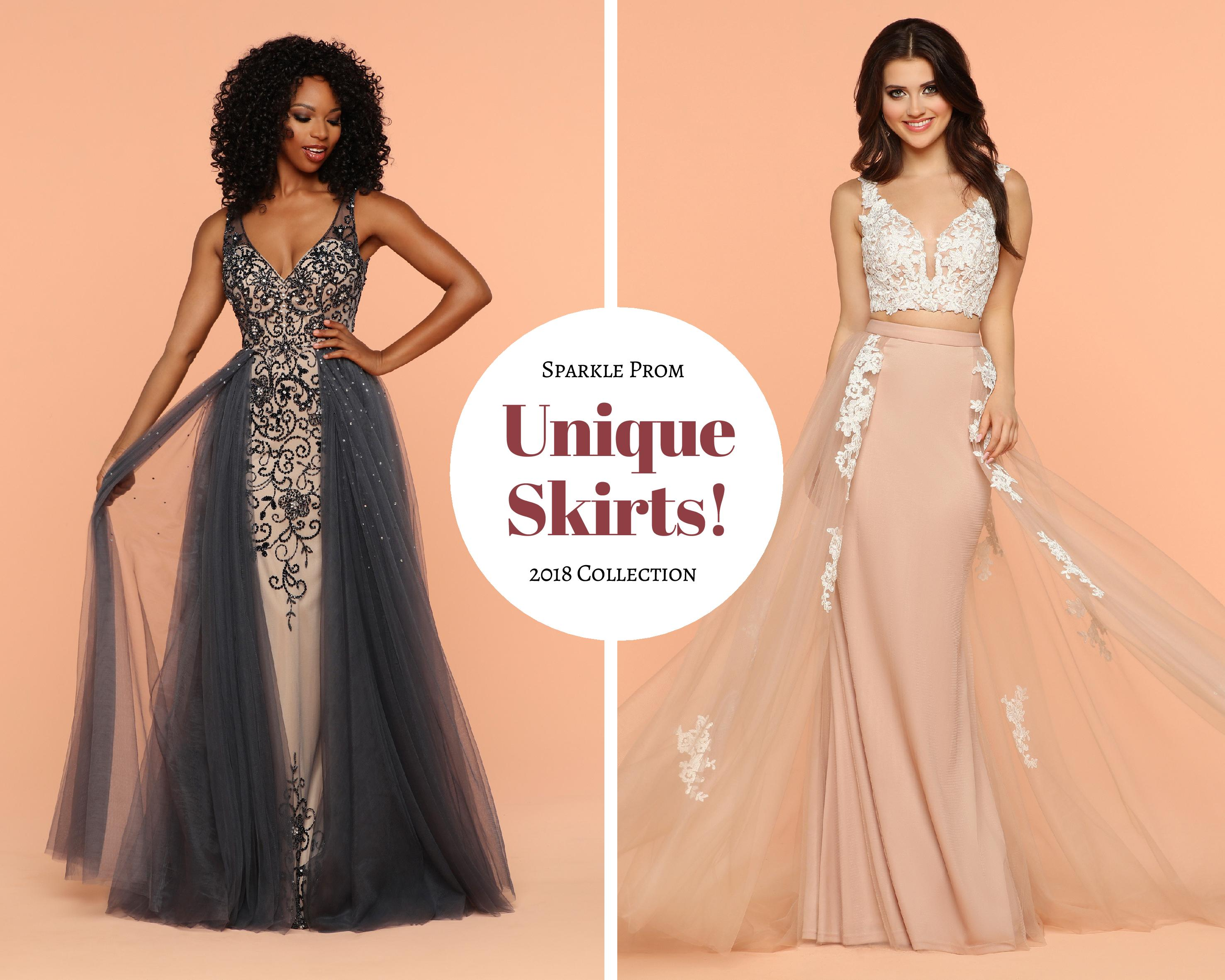 New 2018 Sparkle Prom Collection! Undeniably Unique: Prom Gowns with Distinctive Skirts
