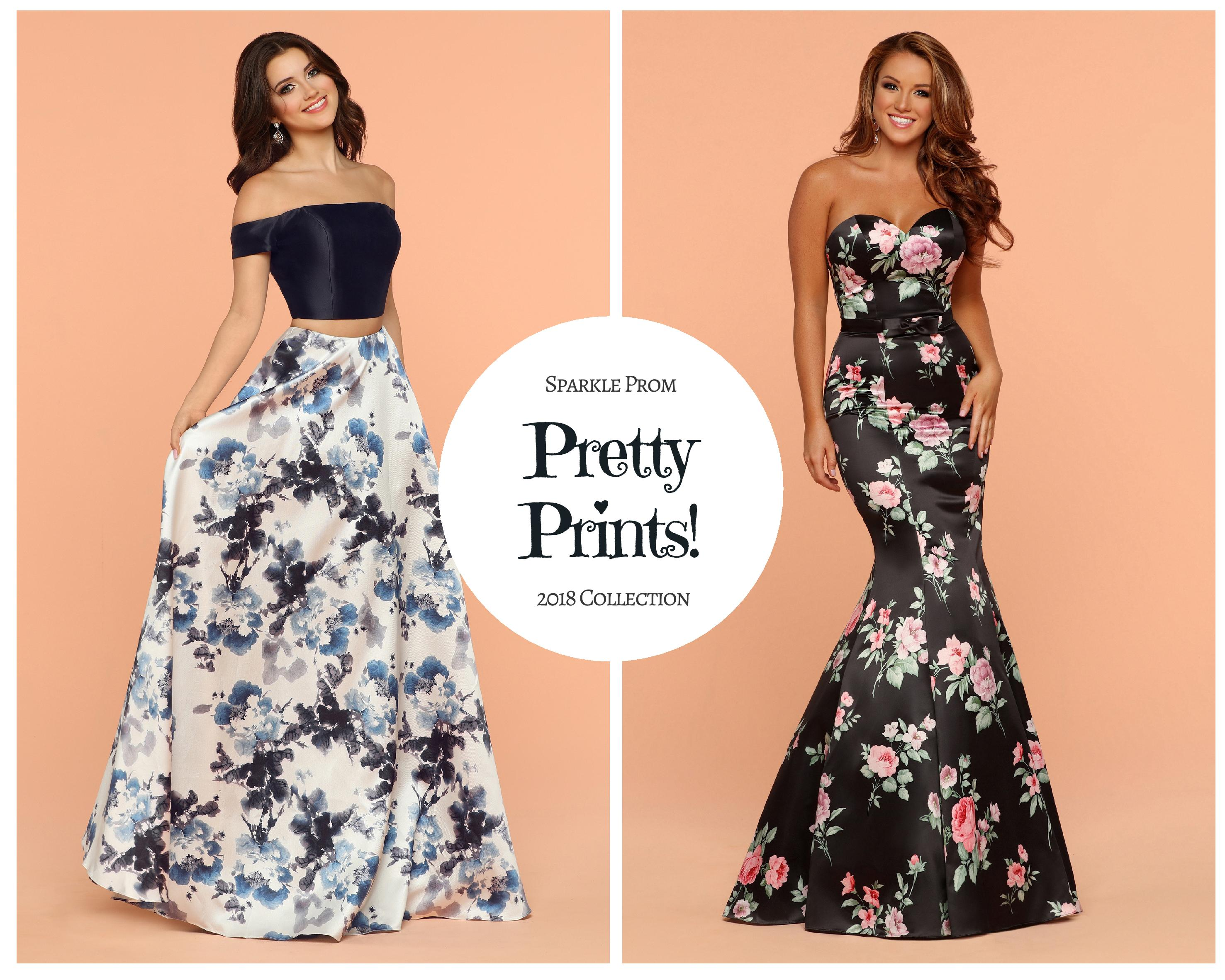 New! Sparkle Prom Collection: Pretty Print Dresses for Prom 2018