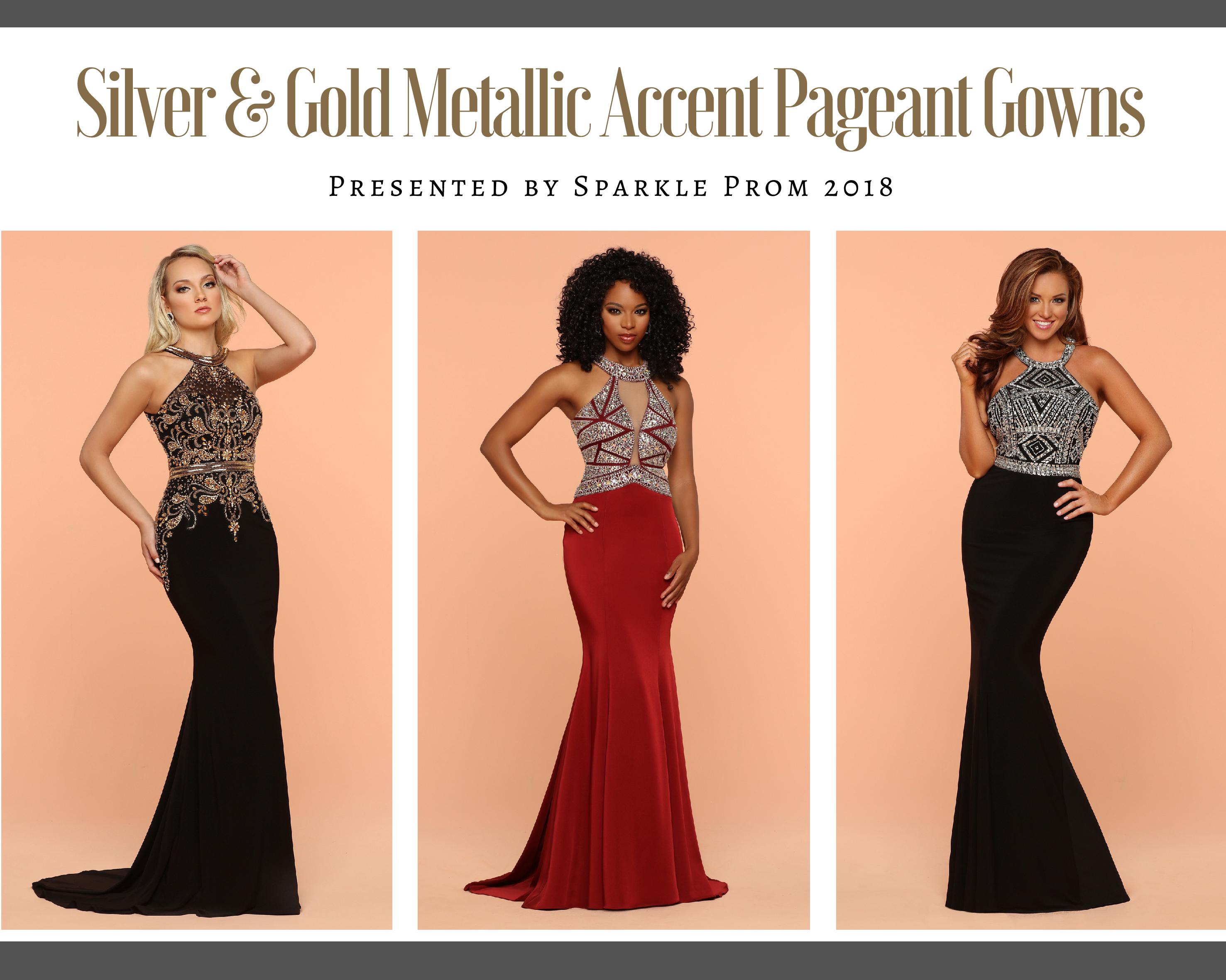 Silver & Gold Metallic Accent Pageant Gowns