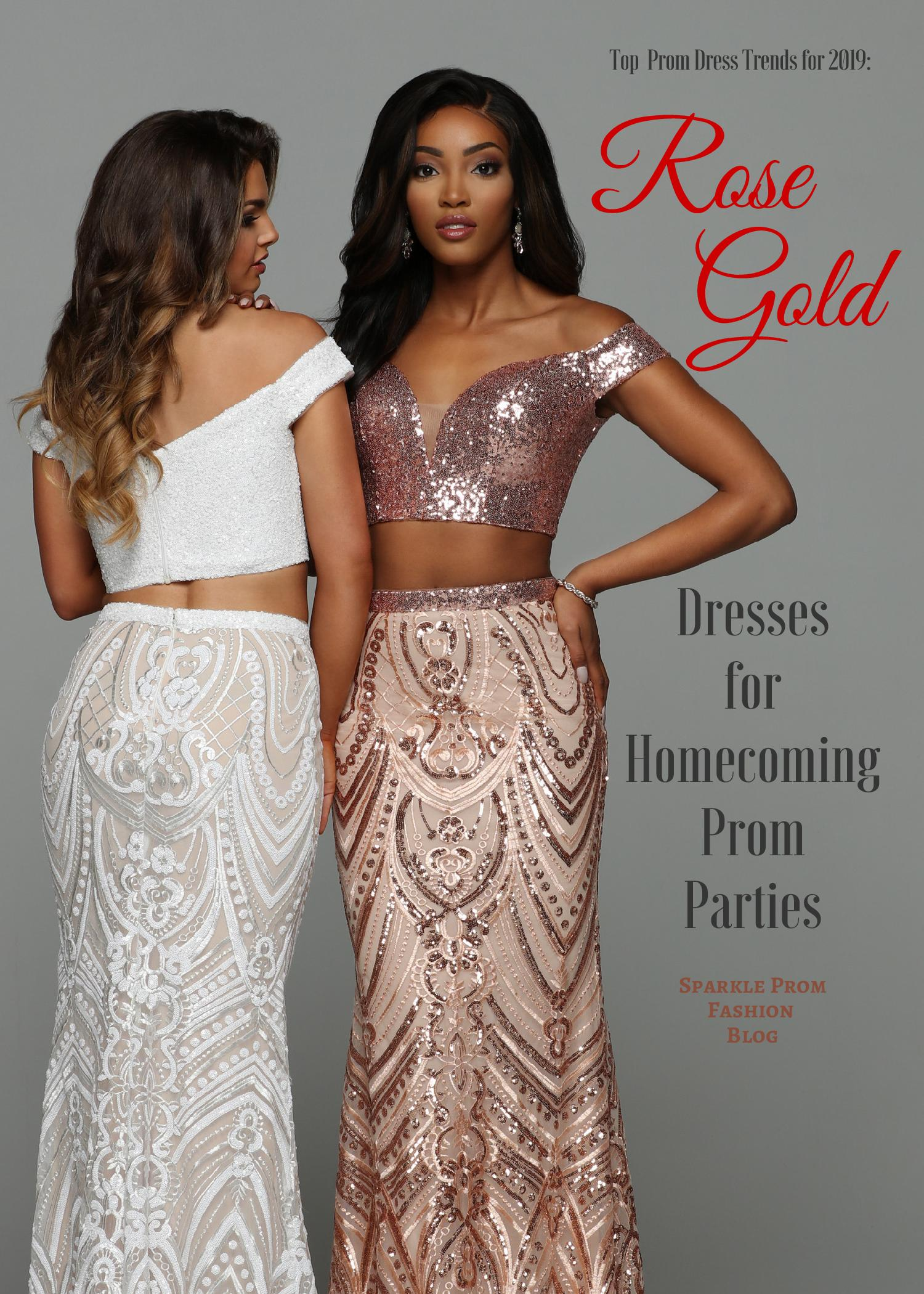 Top Prom Dress Trends For 2019 Rose Gold Prom Dresses Sparkle Prom