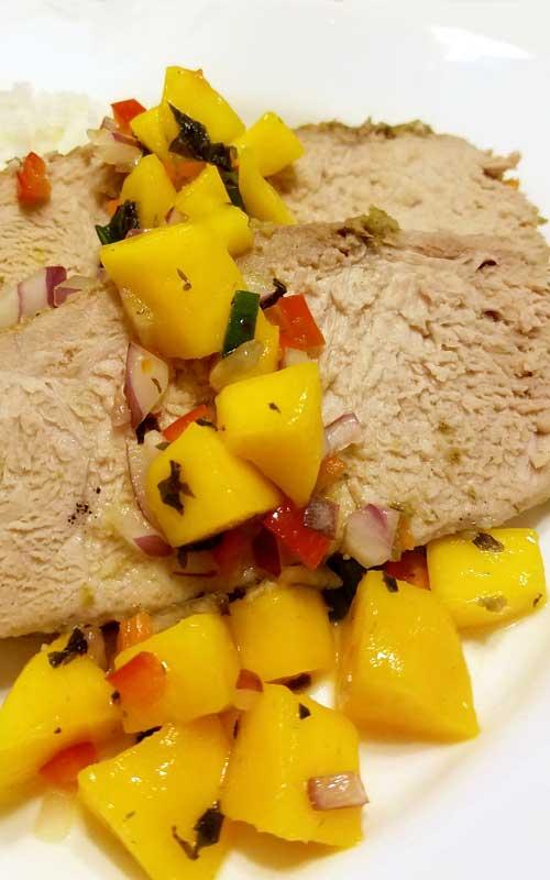 Jamaican Pork Tenderloin with Mango Habanero Salsa