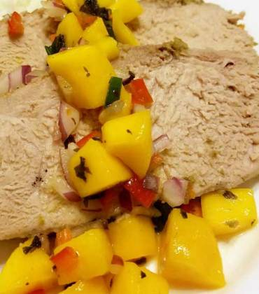 Jamaican Pork Tenderloin with Mango Habanero Salsa