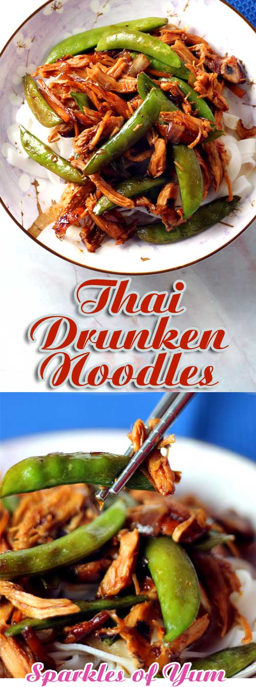 We love trying new recipes, and this recipe for Thai Drunken Noodles has become a favorite. It also happens to be healthy, so that\'s a bonus. It also comes together quickly another bonus, but most of all it tastes so good! #Thai #Asian #dinnerideas