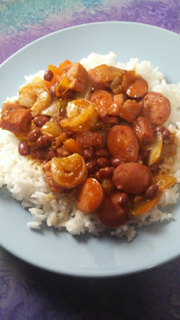 """Jambalaya with Shrimp, Sausage & Ham - Here's a quick and easy dinner idea, it doesn't have to be Mardi Gras season to eat some good Creole Jambalaya and you can still pull it off if you don't have """"everything"""" you need."""