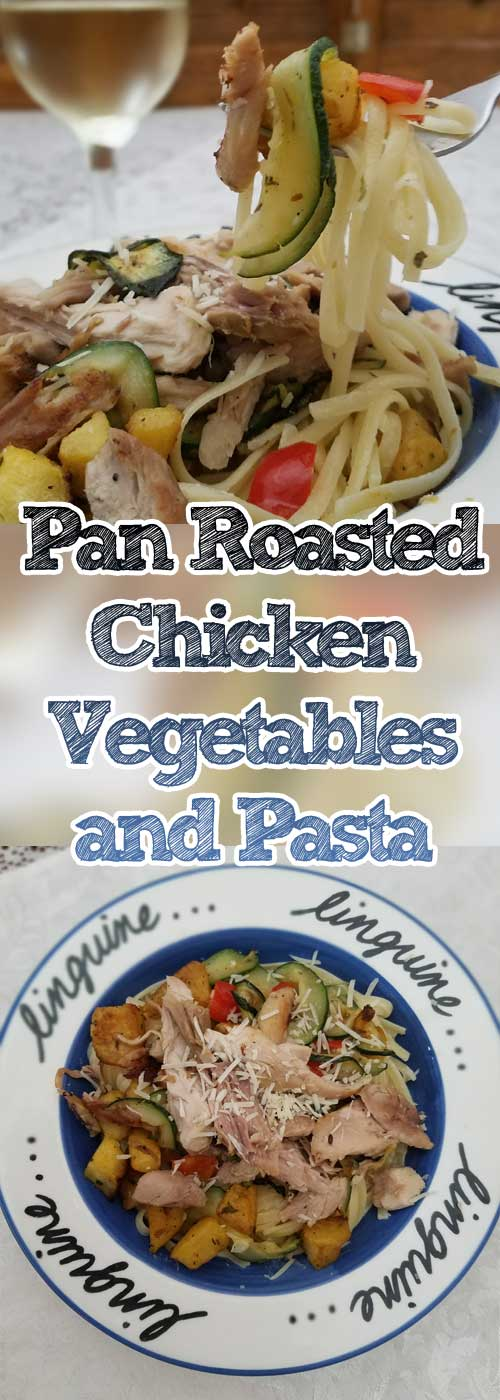 Pan Roasted Chicken Vegetables and Pasta - Flavorful pan roasted squash, zucchini, and red bell peppers come together on a bed of linguine, with a simple ricotta and parm cream sauce makes this a winner winner chicken dinner.
