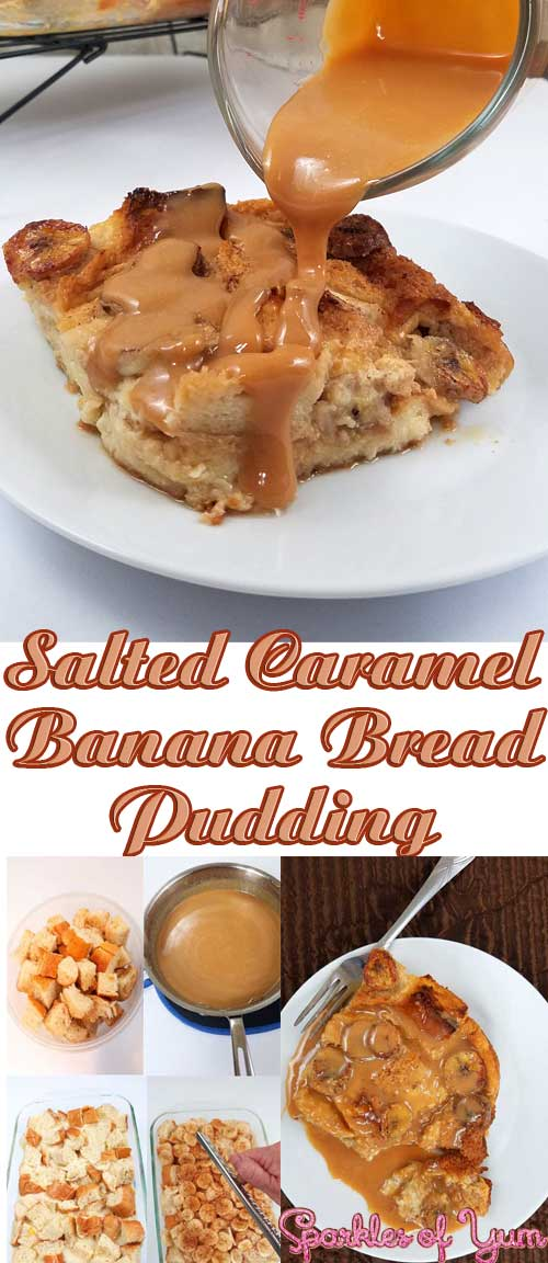 This Salted Caramel Banana Bread Pudding is as close toheaven on a fork as you can get! Bananas and bread drenched in salted caramel, all toasty warm straight out of the oven. #carmel #banana #breadpudding #dessert