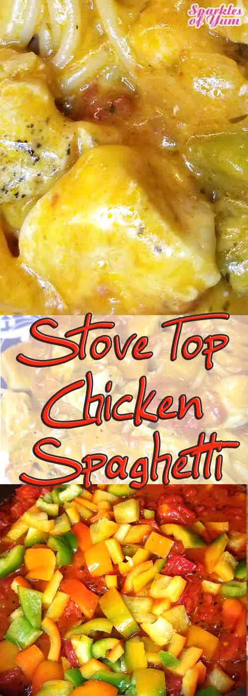 Stove Top Chicken Spaghetti - The perfect quick, easy, and delish dinner for a weeknight when everyone is on the go. #chicken #spaghetti #dinner