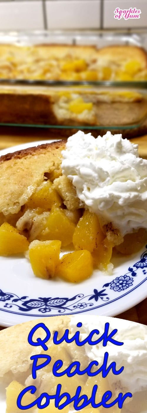 Doesn\'t get any easier than this Quick Peach Cobbler recipe. Luscious velvety peaches, all sweet and juicy, just want to be in an easy cobbler. We just let them do their job in this recipe. #peaches #cobbler #summer #dessert