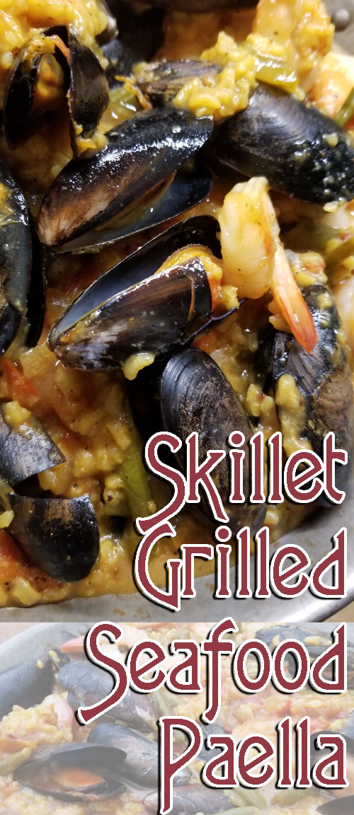 Skillet Grilled Seafood Paella- My mouth is watering again just thinking about how decadent and delicious it is!Rice and vegetables prepared in a bath of chicken stock, wine, and super-aromatic seasonings. Top that off with mussels and shrimp. One of the best recipes ever! #Seafood #Paella #dinnerideas #rice